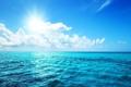 Картинка небо, солнце, облака, природа, океан
