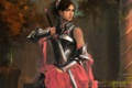 Картинка девушка, меч, арт, клинок, доспех