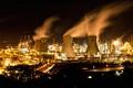 Картинка ночь, город, огни, дым, станция, заводы, атомная