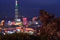Картинка ночь, город, огни, дракон, статуя, Taipei, из дерева