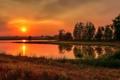 Картинка закат, силуэт, озеро, зеркало, фермы, сельская местность, горы