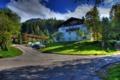 Картинка трава, деревья, город, фото, улица, HDR, дома