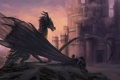 Картинка замок, фантастика, дракон, крылья, арт, король