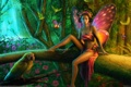 Картинка лес, эльф, попугай, Tanya Varga