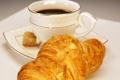 Картинка кофе, завтрак, выпечка, булочка, круассан