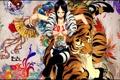 Картинка девушка, тигр, узоры, новый год, 2011