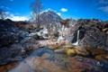 Картинка горы, ручей, камни, дерево, водопад, дно