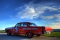 Картинка поле, небо, красный, Chevrolet, Impala