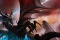 Картинка магия, молнии, дракон, крылья, арт