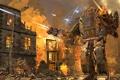 Картинка огонь, граффити, робот, дома, бой