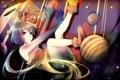 Картинка девушка, планеты, аниме, арт, скелет, vocaloid, гетерохромия