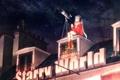 Картинка крыша, небо, девушка, звезды, ночь, дом, наушники