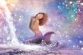 Картинка фантастика, хвост, кудри, вода, волосы, пузырьки, русалка
