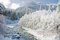 Картинка зима, горы, река