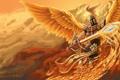 Картинка League of Legends, helmet, kayle lol, fire wings