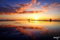 Картинка закат, парусник, люди, мель, отдых, вода
