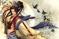 Картинка девушка, оружие, надпись, узор, бабочка, меч, катана