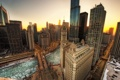 Картинка зима, мост, city, река, небоскребы, утро, Чикаго