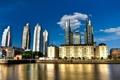 Картинка вода, город, небоскребы, синее небо, золотой отель, Буэнос Айрес