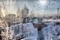 Картинка зима, окно, стекло, узор