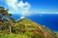 Картинка море, небо, облака, деревья, цветы, природа, гора