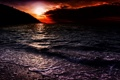 Картинка море, волны, небо, закат, горы, тучи