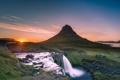 Картинка гора, водопад, утро, Исландия, Iceland, Kirkjufel