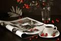 Картинка ветки, ягоды, кофе, кружка, журнал