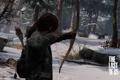 Картинка зима, лес, девушка, снег, деревья, оружие, олень
