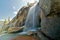 Картинка небо, горы, камни, скалы, водопад, поток