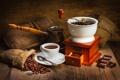 Картинка стол, кофе, шоколад, мешочки, турка, кофемолка