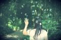 Картинка девушка, деревья, природа, фон, обои, настроения, брюнетка