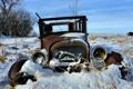 Картинка поле, машина, снег