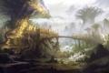 Картинка вода, деревья, мост, город, корни, река, арт