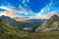 Картинка пейзаж, трава, облака, горы, склон, озеро