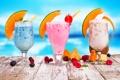 Картинка лето, ягоды, малина, черника, бокалы, клубника, фрукты