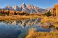 Картинка осень, небо, горы, озеро, отражение