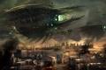 Картинка огонь, город, Resistance, корабли, дым, битва