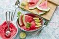 Картинка лето, еда, арбуз, лайм, доска, фрукты, сладкое