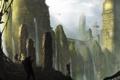Картинка водопад, вертолеты, джунгли, арт, храм, руины, путники