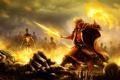 Картинка оружие, пламя, битва, Маг, нежить
