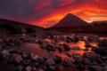 Картинка небо, вода, облака, закат, мост, камни, гора