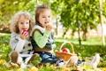Картинка дети, парк, яблоки