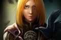 Картинка девушка, перья, арт, ворон, dragon age inquisition, Leliana
