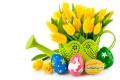 Картинка цветы, яйца, букет, Пасха, тюльпаны, желтые тюльпаны