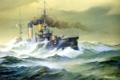 Картинка океан, волны, эскадренный броненосец «Орел», масло, картина, шторм, художник А.Н. Лубянов