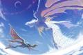 Картинка фентези, крылья, драконы, аниме, всадник, полёт
