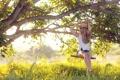 Картинка трава, девушка, качели, дерево, фотограф, girl, photography
