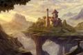 Картинка пейзаж, горы, дом, медведи, арт