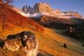 Картинка осень, лес, закат, горы, природа